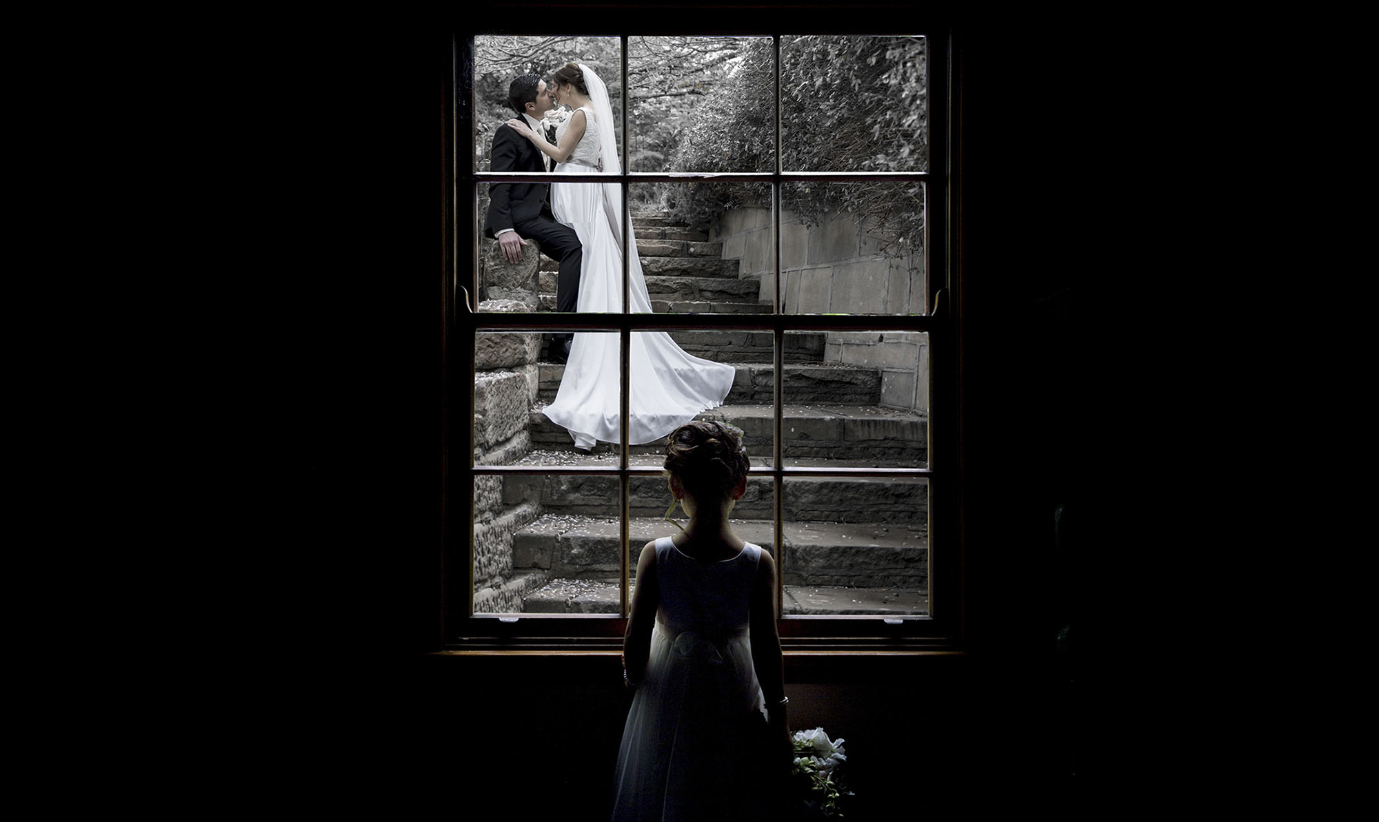 flower girl and window