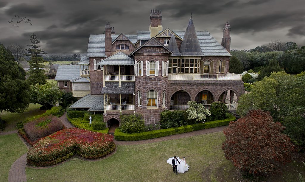drone photography bride and groom at Camelot