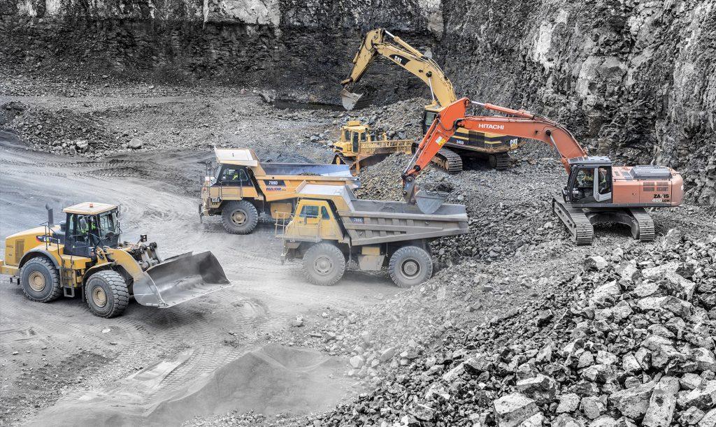 trucks in a quarry