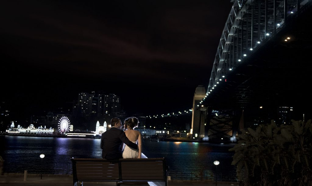 Sydney harbor night bride and groom